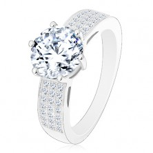 Ring made of 925 silver - engagement, wider zircon shoulders, big round zircon