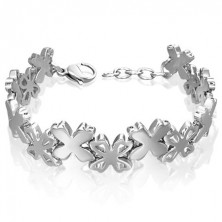 Surgical steel bracelet with flower links