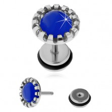 Fake ear plug made of surgical steel, dark blue synthetic cat's eye
