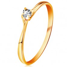 Ring made of yellow 14K gold - lustrous clear brilliant in shiny raised mount