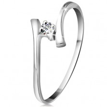 585 gold ring - sparkly clear brilliant, thin bent shoulders, white gold