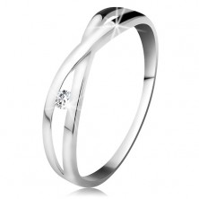 Ring made of white 585 gold - round diamond in clear colour, split intersecting shoulders