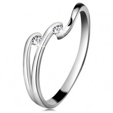 Diamond ring made of white 14K gold - two glistening clear brilliants, shiny lines of shoulders