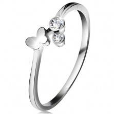Diamond ring made of white 14K gold - two clear brilliants, shiny butterfly