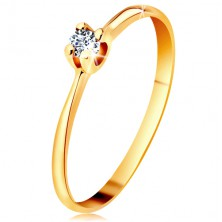 585 gold ring - glistening clear brilliant in four-point mount, narrowed shoulders