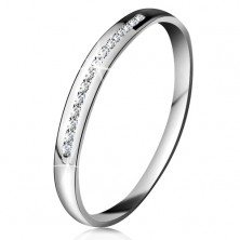 Brilliant ring made of white 14K gold - glistening line of tiny clear diamonds