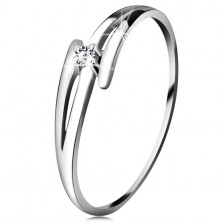 Brilliant ring made of white 14K gold - split wavy shoulders, clear diamond