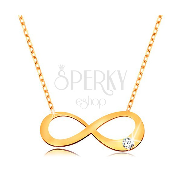 14k Gold Necklace Flat Infinity Symbol With Clear Brilliant