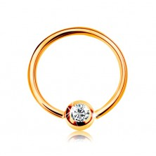 9K gold piercing - shiny circle and ball with embedded zircon in clear colour, 8 mm