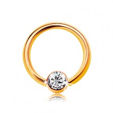 Piercing made of yellow 9K gold - small circle with ball and clear zircon, 6 mm