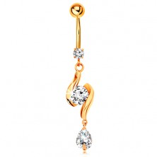 375 gold bellybutton piercing - two shiny waves with zircon in the middle and teardrop