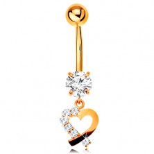 9K gold bellybutton piercing - heart contour with clear zircon half