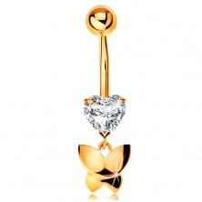 375 gold bellybutton piercing - clear cut heart, dangling shiny butterfly