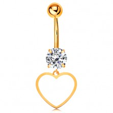 9K gold piercing for belly - clear zircon, thin contour of symmetric heart