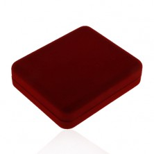 Dark red big box for chain or necklace, velvet surface