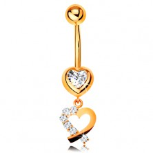 9K gold piercing for belly - zircon heart, heart contour with sparkly half