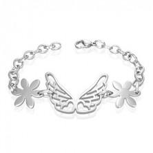 Steel angel wings bracelet, flowers