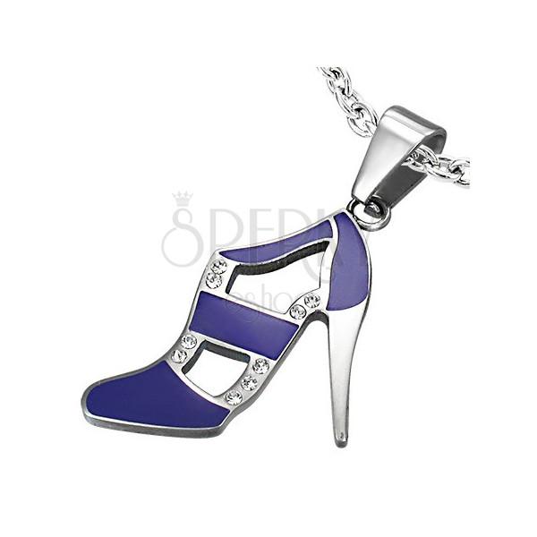 Purple dance shoe pendant made of steel