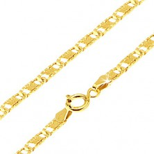 Gold chain 585 - flat oblong grooved links, grid, 500 mm