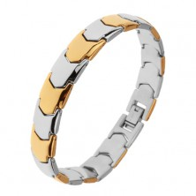 Shiny steel bracelet, Y - links in gold and silver hue