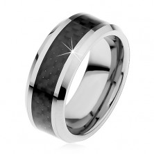 Tungsten band in silver colour, middle strip made of black fibres, 8 mm