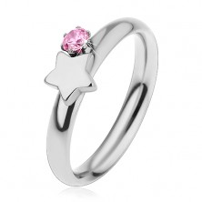 Children's ring made of surgical steel, silver colour, star and pink zircon