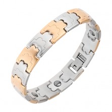 Two-colour matt bracelet made of surgical steel, magnets, decorative links