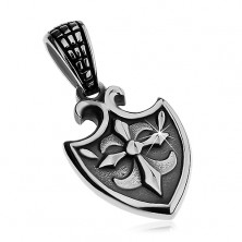 Pendant made of surgical steel in silver colour - coat of arms with Fleur de Lis symbol