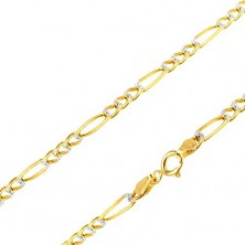 585 gold chain - three eyelets and one longer link, white gold grooves, 540 mm