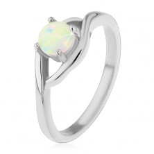 Ring made of surgical steel in silver colour, round synthetic opal, split shoulders