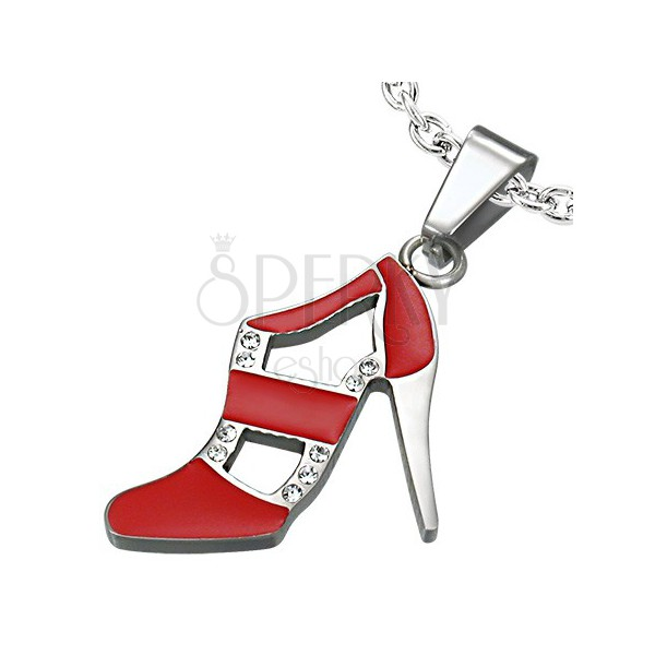 Red dance shoe pendant made of steel