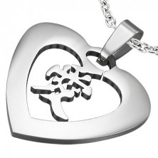 """Steel pendant of silver colour - heart with the Chinese sign for """"love"""""""