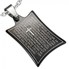 Stainless steel pendant - prayer and cross