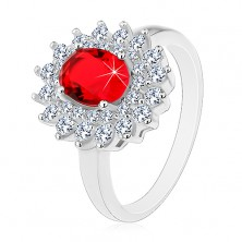 925 silver ring with red oval zircon and clear zircons, rhodium plated