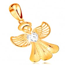 Bicoloured pendant made of 14K gold - shiny angel with filigree wings and heart