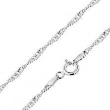 585 gold chain - spiral composed of shiny oval links, white gold, 500 mm