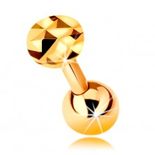 14K gold ear piercing - shiny straight barbell with ball and glistening circle, 5 mm