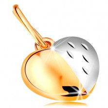 Bicoloured pendant made of 14K gold - shiny-matt heart decorated with notches