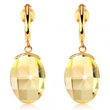 Earrings made of yellow 14K gold - narrow shiny arc, cut yellow Swarovski crystal