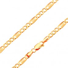 Bracelet made of yellow 14K gold - three oval links and element with grid, 180 mm