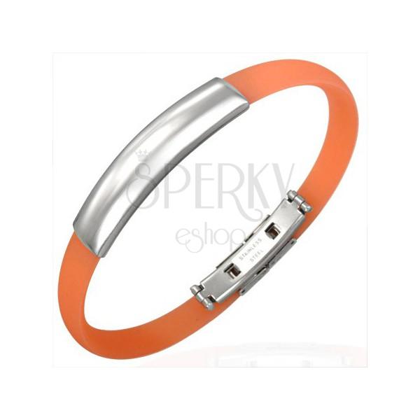 Flat rubber bangle - plate, orange colour