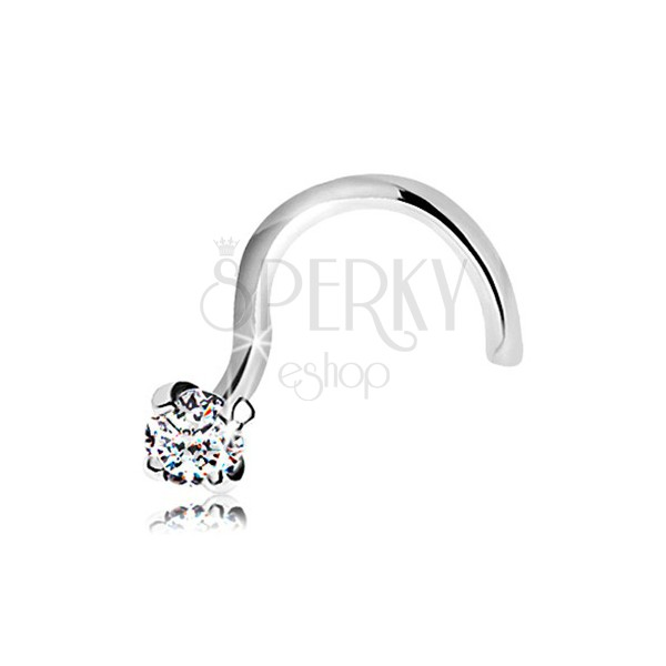 Diamond Nose Piercing Made Of White 14k Gold Glossy Clear