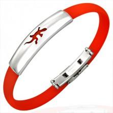 Rubber bracelet - flat, red colour, lizard motif