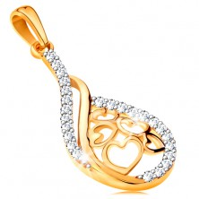 14K gold pendant - drop with hearts in the middle, lines of clear zircons