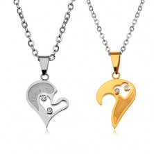 Set of necklaces made of 316L steel for lovers, heart pendants, clear zircons