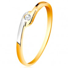 Ring made of 14K gold - round clear zircon, bicoloured elongated ends of shoulders