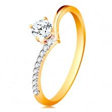 585 gold ring - shoulders bent into peak and clear zircon in mount