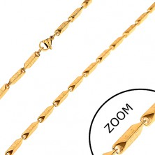 Steel chain in gold colour - wider angular links with Greek motif, 3 mm