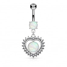 Bellybutton piercing made of 316L steel, heart with synthetic opal and zircons