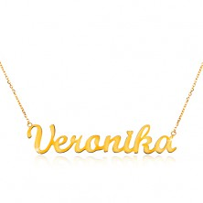 Necklace made of yellow 14K gold - thin chain, shiny pendant Veronika